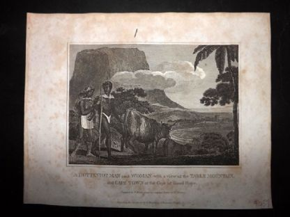 Blomfield 1807 Antique Print. Hottentot Man and Woman. Table Mountain, South Africa